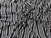 Stripe Print Viscose Stretch Jersey Knit Dress Fabric  Black, White & Pink