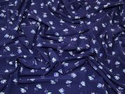 Floral Print Stretch Microfibre Dress Fabric  Navy Blue
