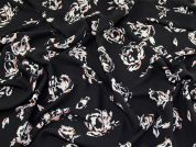Floral Print Polyester Georgette Dress Fabric  Black, Cream & Orange