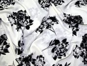 Floral Print Polyester Georgette Dress Fabric  Black & Ivory