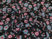 Floral Print Polyester Crepe Dress Fabric  Multi on Black