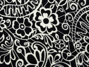 Floral Print Stretch Jersey Knit Dress Fabric  Black & White