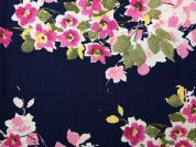 Floral Print Stretch Stretch Jersey Dress Fabric  Navy Blue & Pink