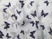 Butterfly Print Polyester Georgette Dress Fabric  Blue on White