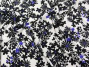Floral Print Georgette Dress Fabric  Black Ivory & Royal