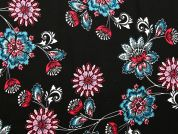 Floral Print Polyester Georgette Dress Fabric  Blue & Pink on Black