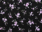 Floral Print Stretch Jersey Knit Dress Fabric  Lilac on Black