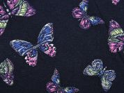 Butterfly Print Stretch Jersey Knit Dress Fabric  Navy Blue