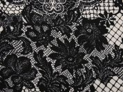 Floral Lace Poly Stretch Jersey Knit Dress Fabric  Black & Grey