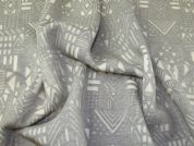 Aztec Scuba Knit Fabric  Grey