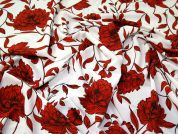 Floral Morrocaine Crepe Fabric  Burnt Orange