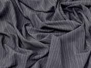Pinstripe Stretch Suiting Fabric  Grey