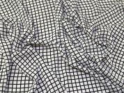 Windowpane Georgette Fabric  White & Black
