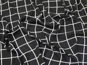 Windowpane Georgette Fabric  Black & White
