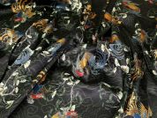 Stretch Cotton Sateen Fabric  Multi on Black