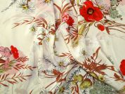 Floral Print Silk Crepe Dress Fabric  Cream & Coral
