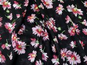 Floral Print Cotton Voile Dress Fabric  Pink on Black
