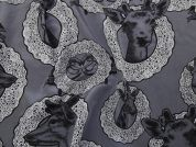 Animal Motifs Print Silk Crepe Dress Fabric  Grey
