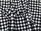 Plaid Check Cotton Flannel Dress Fabric  Black & Cream