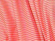 Italian Neon Stripe Voile Dress Fabric  Coral