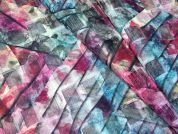 Abstract Print Woven Squares Voile Dress Fabric  Multicoloured