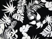 Tropical Leaf Print Stretch Jersey Dress Fabric  Black & White