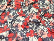 John Kaldor Floral Print Cotton Dress Fabric  Red & Grey