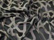 Lady McElroy Wool Satin Jacquard Fabric  Black & Grey