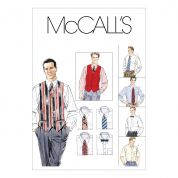 McCalls Mens Sewing Pattern 2447 Shirts, Waistcoat, Tie & Bow Tie