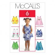 McCalls Toddlers Easy Sewing Pattern 5416 Tops, Dresses & Shorts