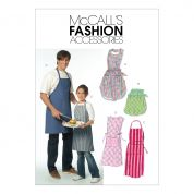 McCalls Ladies, Mens, Girls & Boys Easy Sewing Pattern 5551 Aprons
