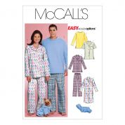 McCalls Ladies, Mens & Pets Easy Sewing Pattern 5992 Sleepwear