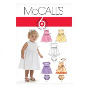 McCalls Toddlers Easy Sewing Pattern 6015 Summer Dresses, Panties & Headband