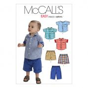 McCalls Toddlers Easy Sewing Pattern 6016 Shirts, Shorts & Pants