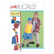 McCalls Boys Sewing Pattern 6099 Shirt, Tank Top, Cropped Pants, Shorts & Head wrap