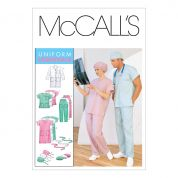 McCalls Adult Unisex Sewing Pattern 6107 Lab Coat, Dress, Top, Pants, Hats & Tie Belt