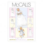 McCalls Baby Sewing Pattern 6221 Christening Dress, Romper & Bonnets
