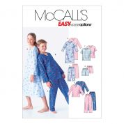 McCalls Childrens Easy Sewing Pattern 6227 Pyjama Shirt, Tops, Shorts & Pants