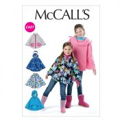 McCalls Childrens Easy Sewing Pattern 6431 Girls Ponchos