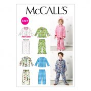 McCalls Childrens Easy Sewing Pattern 6458 Pyjama Tops & Bottoms