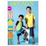 McCalls Childrens Easy Sewing Pattern 6548 Boys Shirt, Top & Shorts