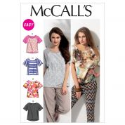 McCalls Ladies Easy Sewing Pattern 6566 Loose Fitting T-Shirt Tops