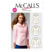 McCalls Ladies Easy Sewing Pattern 6750 Sleeveless, Long & 3 Quarter Sleeve Shirts