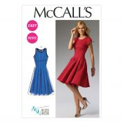 McCalls Ladies Sewing Pattern 6834 Semi-Fitted Flared Pleated Dresses