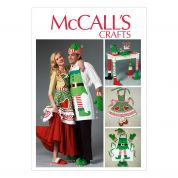 McCalls Sewing Pattern 6860 Christmas Aprons, Oven Mitts, Hat, Slippers, & Table Leg Decorations