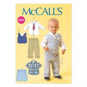 McCalls Toddlers Easy Sewing Pattern 6873 Boys Waistcoat, Shirt, Shorts, Pants, Tie & Pocket Square