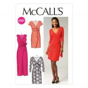 McCalls Ladies Easy Sewing Pattern 6884 Mock Wrap Jersey Dresses
