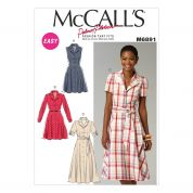 McCalls Ladies Sewing Pattern 6891 Shirt Style Dresses & Sash