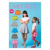 McCalls Childrens Easy Sewing Pattern 6918 Skorts Shirt Shorts