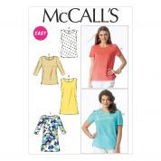 McCalls Ladies Sewing Pattern 6927 Tops & Tunics with Cup Sizes